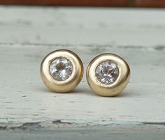 yellow gold stud earrings,yellow gold white topaz studs on Etsy, $200.84