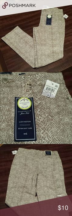 """Charter Club jeans snakeskin pattern size 6 Charter Club Jean Shop Lexington Straight Leg size 6. Tag states """"Tummy Slimming"""". Has two front side pockets and two back pockets. Charter Club Jeans Straight Leg"""