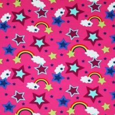Kinderstoff Jersey - Regenbogen Mit Stern Fuchsia