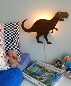 Dino-bite-me! dinosaur lamp childrens light retro wooden vintage T-rex monster boys adventure kids room