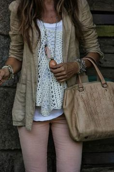 neutral leather jacket with a white lace top, love this!