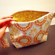 Damask Print Knitting Project Bag with Angel Charm
