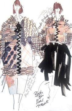The New MA Graduates: Hayley Grundmann - Fashion Sketchbook – fashion design sketches; Illustration Techniques, Illustration Mode, Fashion Illustration Sketches, Fashion Sketches, Dress Sketches, Design Illustrations, Portrait Illustration, Fashion Design Sketchbook, Fashion Design Portfolio
