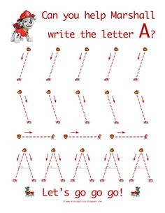 Learn to write the letter A with Marshall from Paw Patrol! / Homeschool Life As A Moore.: Paw Patrol To The Rescue! Preschool Learning Activities, Alphabet Activities, Preschool Worksheets, Kids Learning, Learning Games, Math Games, Alphabet Writing, Preschool Writing, Pre Writing