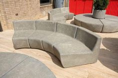 Concrete Outdoor Furniture, Modern Patio Design, Cement Design, Modern Outdoor Living, Fiberglass Resin, Stone Bench, Wall Seating, Patio Accessories, Outdoor Seating