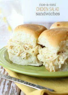 Delicious Rice-a-Roni Chicken Salad Sandwiches - so good and so easy! { lilluna.com }