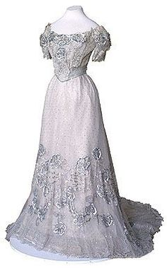 Gown originally belonging to the Empress, white silk tulle, Russian, c. 1900.