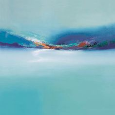 Blue Dawn by Elaine Jones, beautiful blue abstract ocean-like-scape painting