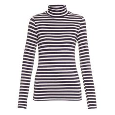 Trademark Striped roll-neck long-sleeved sweater (640 NOK) ❤ liked on Polyvore featuring tops, sweaters, navy silver, long sleeve sweater, nautical stripe sweater, metallic sweater, navy striped sweater and silver sweater
