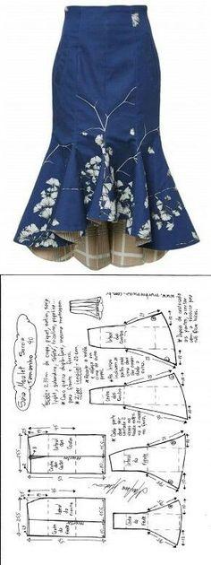 Sewing Skirts Saia Mulet sereia – DIY – molde, corte e costura – Marlene Mukai - Шитье Dress Sewing Patterns, Clothing Patterns, Pattern Sewing, Skirt Patterns, Coat Patterns, Pattern Drafting, Blouse Patterns, Diy Clothing, Sewing Clothes