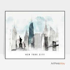 New York poster skyline New York art print ArtPrintsVicky by ArtPrintsVicky Canvas Wall Art, Wall Art Prints, Fine Art Prints, Canvas Prints, Framed Prints, World Map Art, World Map Poster, Skyline Art, New York Skyline