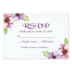 RSVP Purple Watercolor Floral Wedding