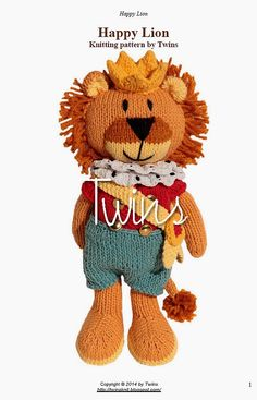 Twins' Knitting Pattern MiniShop: Happy Lion (in English)