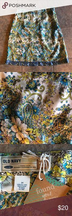 {Old Navy Silk Skirt} Stunning! Never worn. Old Navy Skirts
