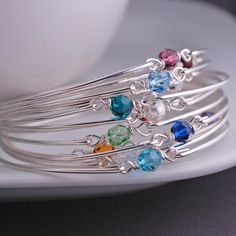 Birthstone Crystal Bracelet, Sterling Silver Bangle by georgiedesigns