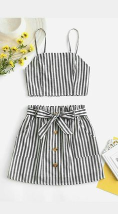 Smocked Striped Top And Belted Skirt Set Occasion: Casual,Going Out Style: Casual Fit Type: A Line Collar-line: Spaghetti Straps Sleeves Length: Sleeveless Material: Cotton,Polyester Waist Type: High Source by lydiahinckley outfits going out Cute Outfits For School, Cute Girl Outfits, Teenage Outfits, Cute Summer Outfits, Cute Casual Outfits, Outfits For Teens, Black Outfits, Winter Outfits, Girls Fashion Clothes