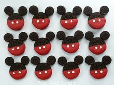 What You Need regular sized sandwich cookies (I used WhoNu? Cookies) mini sandwich cookies ( I used mini Oreo Cookies) red candy melts chocolate candy melts white round sprinkles for buttons Theme Mickey, Mickey Party, Mickey Mouse Birthday, Minnie Mouse Party, 2nd Birthday, Birthday Ideas, Birthday Stuff, Disney Theme, Birthday Decorations