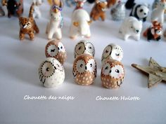 Amulet My Little white or brown owl oMamaWolf -miniature handmade sculpture in polymer clay- lucky charm