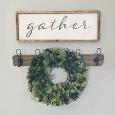"Put ""On this Farm but Change to In this Holler"" sign instead of ""gather"" sign~MO Farmhouse Decor, Decor, Rustic Decor, Sweet Home, Gather Wood Sign, Decor Design, Dinning Room, Kitchen Design Decor, Home Decor"