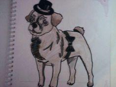 Um desenho de um cão com autocolantes e  pintado a lápis de cor. Ainda contornado a marcador preto.