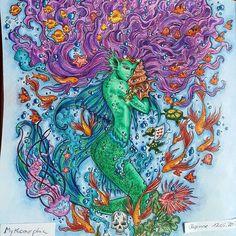 Finished and I'm quite happy with my little Mermaid #Mermaid #mythomorphia #coloringbookforadults #kerbyrosanes #malbücherfürerwachsene #malbuchfürerwachsene #coloringbook