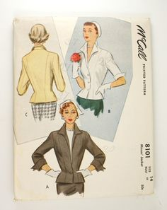 I must find this pattern and make the one with the single button at the waist. Gorgeous! McCall 8101