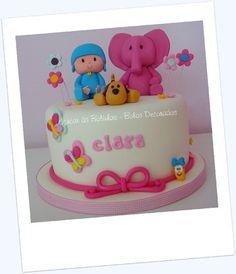 Pocoyo cake - butterflies, little worm Princess First Birthday, Girl Birthday Themes, Happy 2nd Birthday, Boy Birthday, Cake Pocoyo, Girl Cakes, Unicorn Birthday, First Birthdays, Cake Decorating