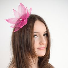1 Mini pink crinoline and rhinestone flower hair by TaraMDesigns Tara M, Flower Hair Accessories, Horse Hair, Flowers In Hair, Fascinator, Etsy Store, Bridal, Trending Outfits, Mini