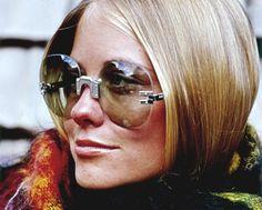 Cybill Shepherd models sunglasses for Glamour magazine (1969)