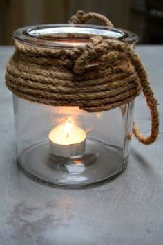 rope & glass candle holder
