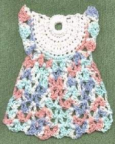 """This Free pattern download called """"Little Dress Dishcloth"""" by Janelle Schlossman, can be used in combination with the Free pattern called """" Squaring off the Little Dress Motif """" Pattern by Lisa Shahabadi to make an afghan square or potholder. http://www.ravelry.com/patterns/library/squaring-off-the-little-dress-motif-pattern"""