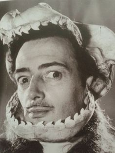 Salvador Dali portrait with shark's jaws, 1950s.