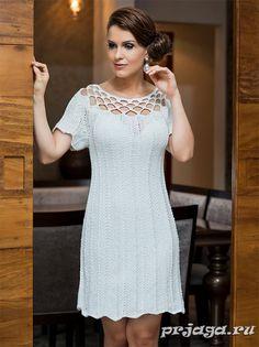 Платье, вязание спицами и крючком