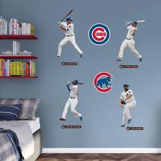 Chicago Cubs Power Pack Wall Decals By Fathead 90 Liked On Polyvore Featuring Home Home Decor Wall Art Multicolor Wall Detail Fa Chicago Cubs Cubs Wall Decals