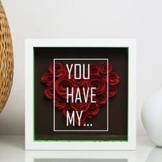Personalise Heart shaped red roses shadow box, 3D shadow box, gift idea. by CazDesignShop on Etsy