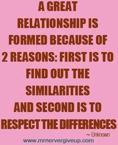 A great relationship is formed because of 2 reasons: first is to find out the similarities and second is to respect the differences. Cute Quotes, Words Quotes, Wise Words, Quirky Quotes, Awesome Quotes, Miracles Book, Relationship Quotes, Relationships, Dating Quotes
