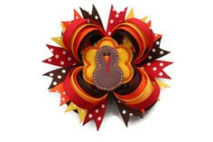 Thanksgiving Hair Bow Thanksgiving Hairbow Turkey Hair Bow in Red, Orange, Yellow and Brown on Etsy, $9.99