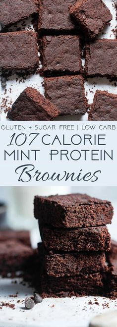 Low Carb Keto Protein Brownies -These sugar free brownies are SO dense and chewy you would never believe they are only 107 calories and grain/dairy/gluten free and paleo friendly! The perfect healthy treat! | Foodfaithfitness.com | @FoodFaithFit | paleo brownies. keto brownies. low carb brownies. gluten free brownies. mint chocolate brownies. via @FoodFaithFit