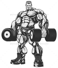 Bodybuilder with Dumbbells - Sports/Activity Conceptual Bodybuilding Girl, Bodybuilding Pictures, Bodybuilding Motivation, Sport Motivation, Fitness Motivation, Gym Logo, Chest Muscles, Home Workout Equipment, Gym Design