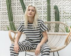 hazards stripe mini dress and trousers Short Sleeve Dresses, Dresses With Sleeves, Fashion Labels, Trousers, Mini, Design, Gowns With Sleeves, Pants