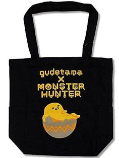 New! Sanrio Gudetama x Monster Huner Collaboration Tote Bag Egg Black Japan F/S #Sanrio