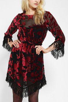 For Love & Lemons Near Dark Velvet Fringe Dress