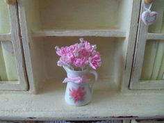 Dollhouse pitcher and flowers by Deeswareminiatures on