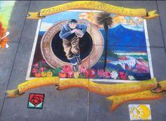 Tournament of Roses, chalk mural, Jen Swain Chalk Drawings, Bowl, Roses, Painting, Art, Art Background, Pink, Rose, Painting Art