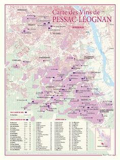 Carte des vins de Pessac-Leognan (Graves): Ce document cartographique de format 30 x 40 centimètres, présente à une échelle de 1,5…