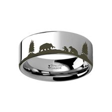Thorsten Wildlife Sport Fishing Trout Fish Jumping Print Pattern Ring Flat Black Tungsten Ring 10mm Wide Wedding Band from Roy Rose Jewelry