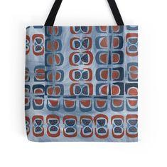 'BlueGreySienna pattern' Tote Bag by ValMyburgh