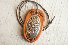 Leather and silver pendant - waxed chocolate brown thread cord - Hand tooled tan leather - OOAK - Ready to Ship