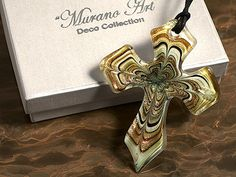 Murano Art Deco Collection Glass Cross with Gold and Brown Swirls