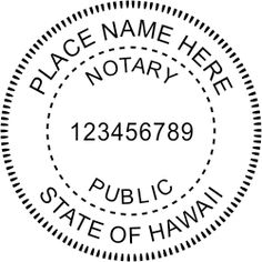 Hawaii Notary rubber stamp